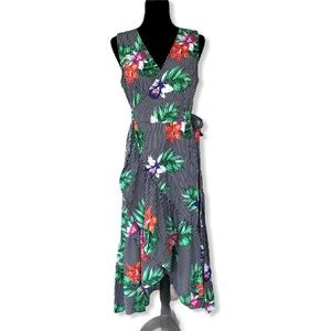 Who What Wear striped floral ruffle maxi dress